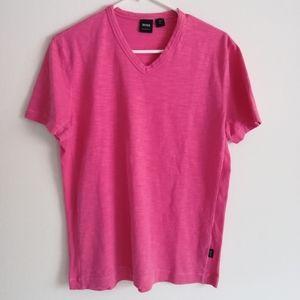 Men's Hugo Boss v neck pink t shirt